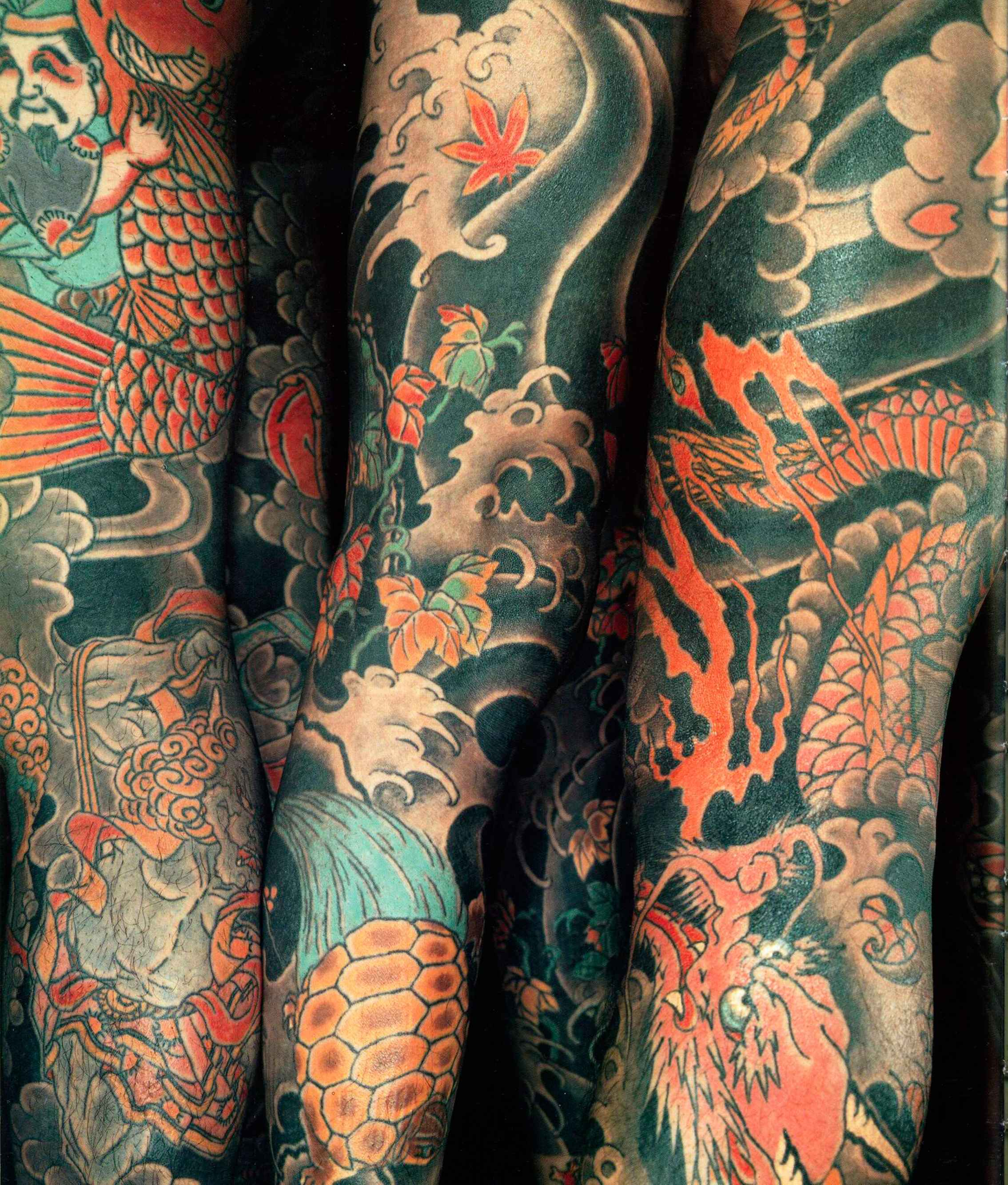 Japanese Waves And Clouds Tattoo